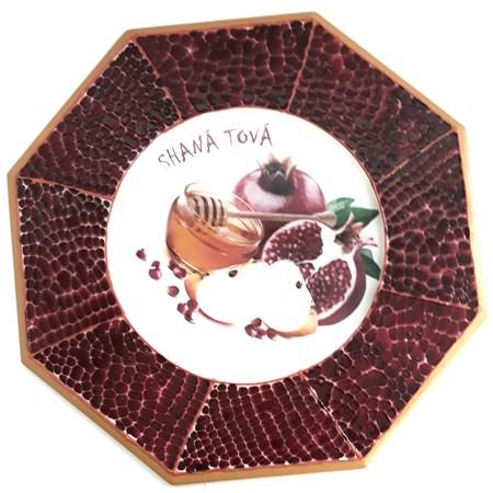 Prato para Rosh Hashaná decorado