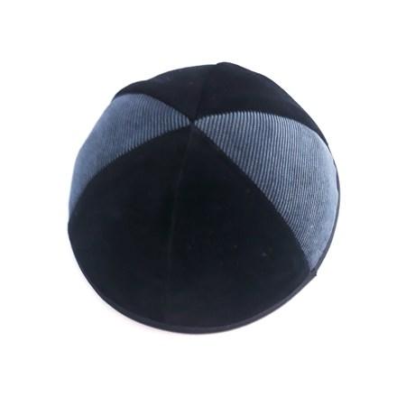 Kipá de veludo preto duas cores - Tam. 4