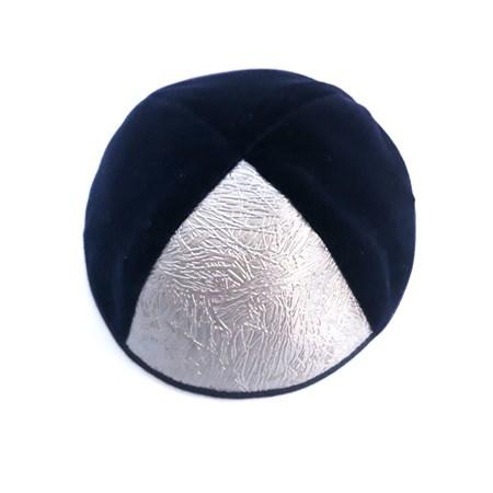 Kipá de veludo azul com triângulo prateado - Tam. 4
