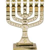 Menorá Knesset esmaltada - Branca