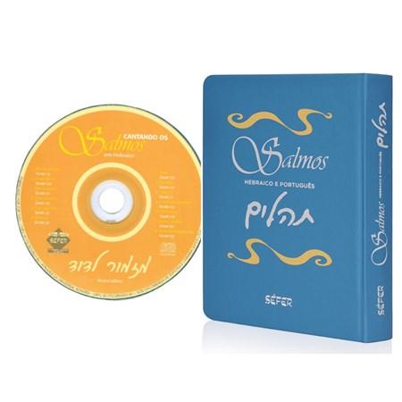 Salmos - Hebraico e Português (Capa Flexível Azul) com CD Cantando Salmos em Hebraico