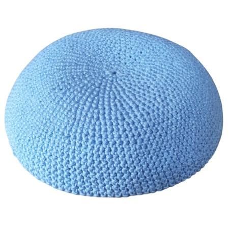 Kipá de crochê com Ponto Médio - Azul Claro