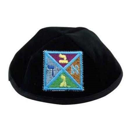 Kipá de Veludo preto com bordado multicolorido Alef Bet