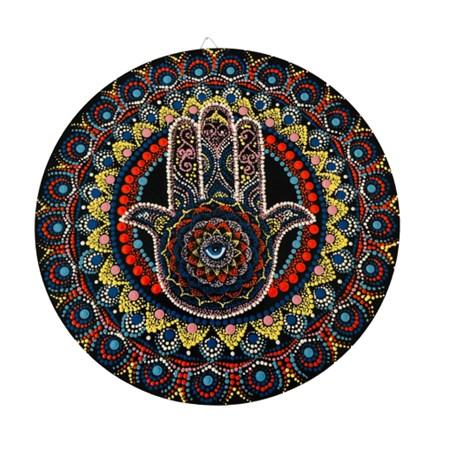 Mandala colorida pequena - Hamsa e olho grego