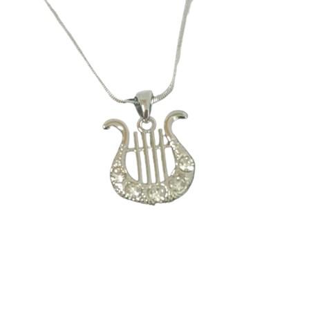 Corrente e pingente Harpa de David com pedras transparentes - Prateado