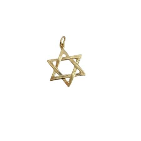 Pingente dourado estrela de David entrelaçada
