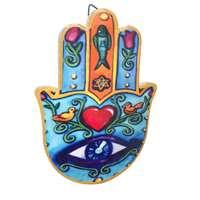 Hamsa de cerâmica - colorida coração