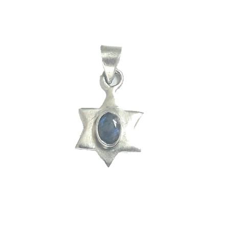 Pingente estrela de David de prata com pedrinha