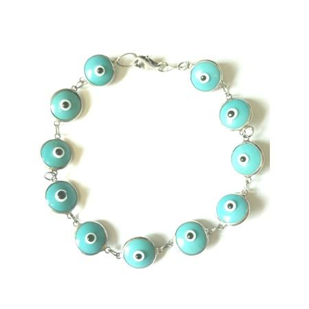 Pulseira Olho Grego prata - Azul Claro