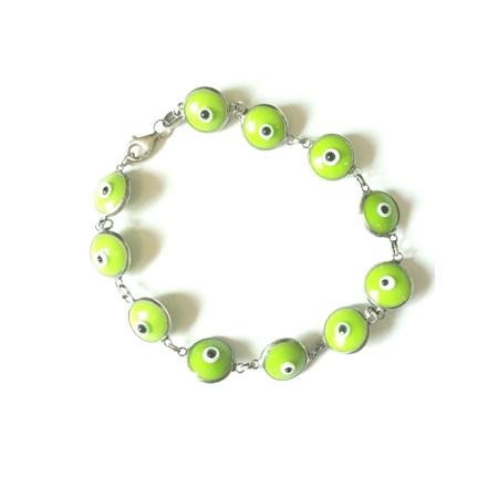 Pulseira Olho Grego prata - Verde