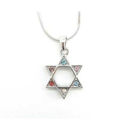 Corrente e pingente Estrela de David com pedras coloridas - Prateado