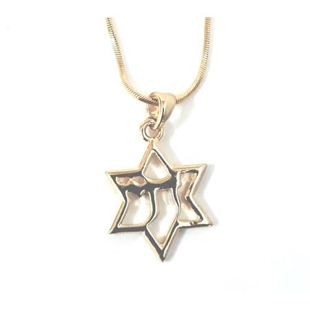Corrente e pingente Estrela de David com Chai