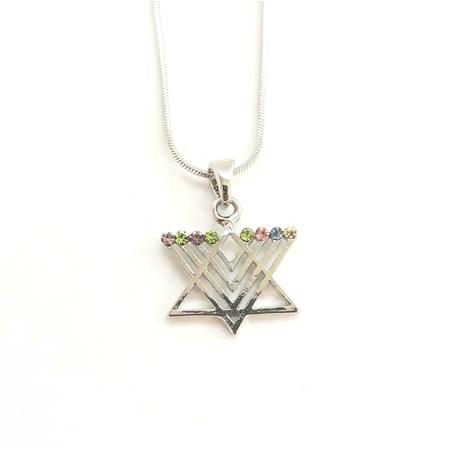 Corrente e pingente Estrela de David Chanukiá dourada - Prateado