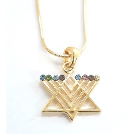 Corrente e pingente Estrela de David Chanukiá - Dourado