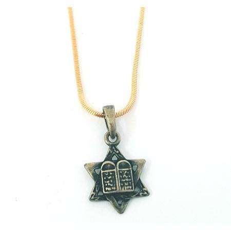 Corrente e pingente Estrela de David e 10 mandamentos - Corrente dourada com pingente ouro velho