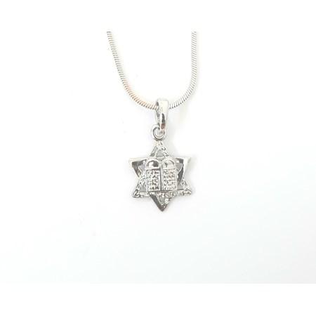 Corrente e pingente Estrela de David e 10 mandamentos - Corrente prateada com pingente prateado