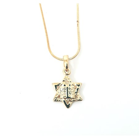 Corrente e pingente Estrela de David e 10 mandamentos - Corrente dourada com pingente dourado