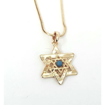 Corrente e pingente Estrela de David com mini estrela - Dourado