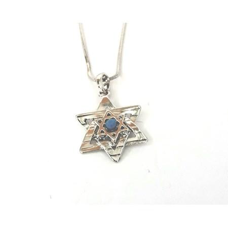 Corrente e pingente Estrela de David com mini estrela