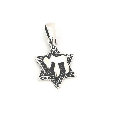 Pingente Estrela de David com Chai de prata