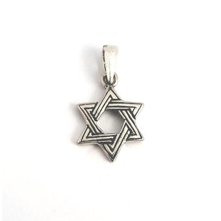 Pingente estrela de David entrelaçada de prata
