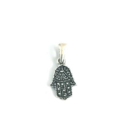 Pingente hamsa de prata decorada