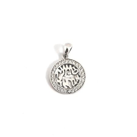 Pingente Shemá israel de prata com zircônia
