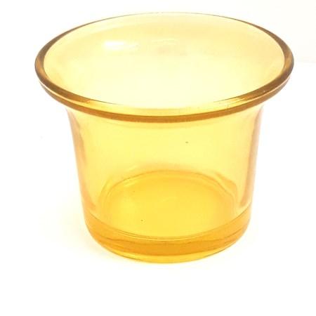 Copinho  de vidro colorido  para vela  - Amarelo