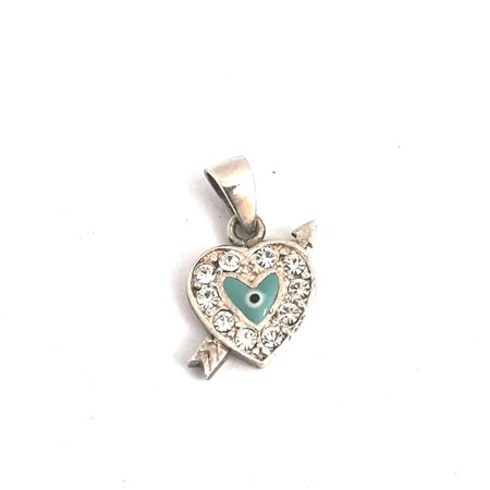 Pingente Coração com olho grego de prata