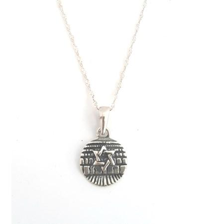 Corrente e pingente de prata estrela de David com muro