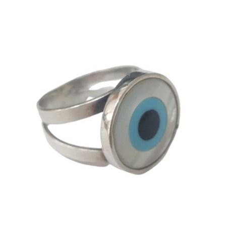 Anel prata olho grego madrepérola - Tam. 18