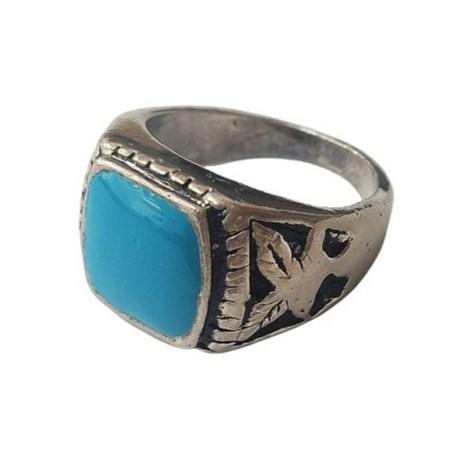 Anel prateado com pedra esmaltada - Tam. 19 - Azul Turquesa