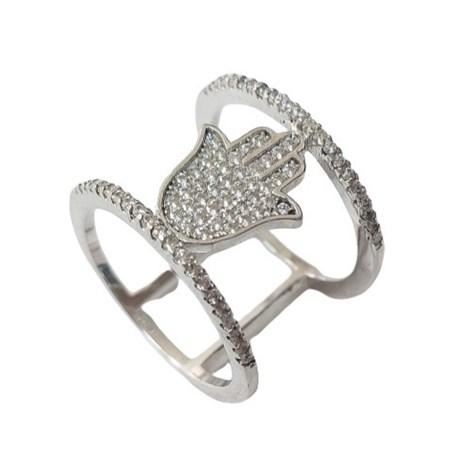 Anel de prata vazado redondo hamsa - Tam. 17