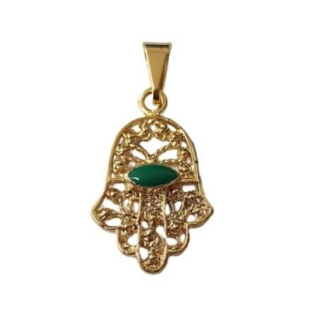 Pingente hamsa vazada com pedra verde dourada