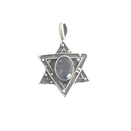 Pingente estrela de David de prata com pedra lilás
