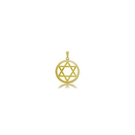 Pingente dourada estrela de David circulo - grande