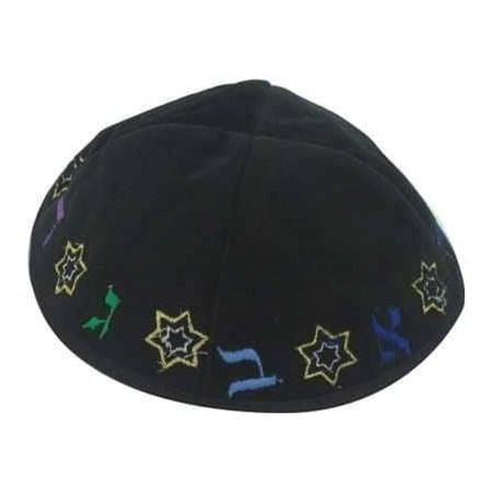 Kipá de veludo alef bet - Estrelas - Azul