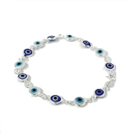 Pulseira prateada com mini olhinhos gregos azuis e brancos