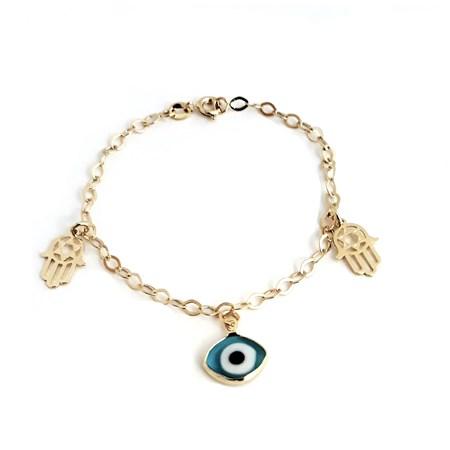 Pulseira dourada com olho grego e hamsa