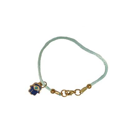 Pulseira fio azul com hamsa