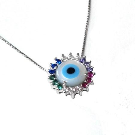 Corrente e pingente de prata olho com zircônias coloridas