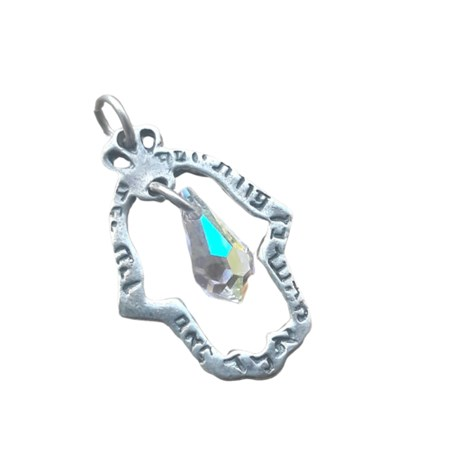 Pingente hamsa em prata com cristal Ben Porat Yossef
