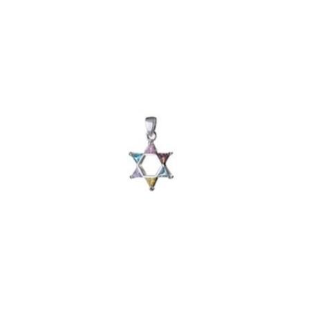 Pingente Estrela de David prata com pedras coloridas