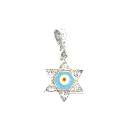 Pingente estrela de David prata olho azul - pequeno