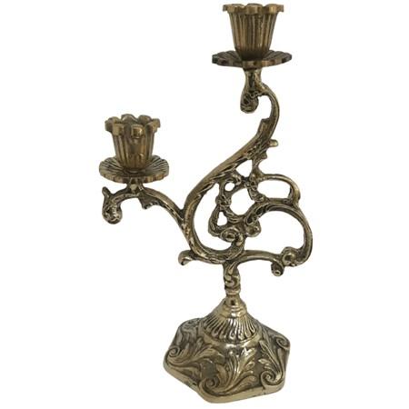 Castiçal de metal dourado para duas velas