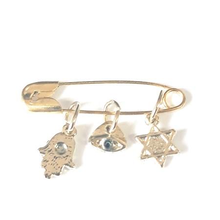Alfinete com 3 símbolos Judaicos - Dourado