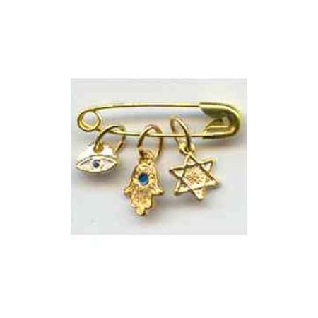 Alfinete com 3 símbolos Judaicos