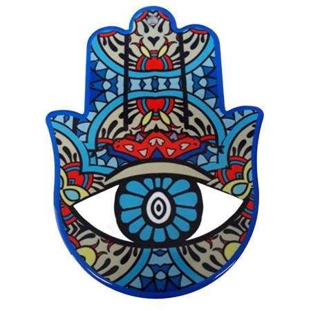 Hamsa de porcelana colorida - azul