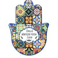 Hamsa de cerâmica colorida - Deus abençoe nossa casa