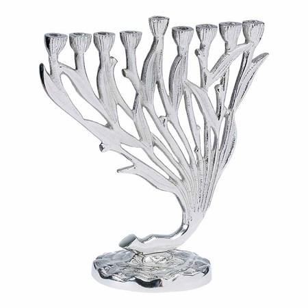 Chanukiá de alumínio floral